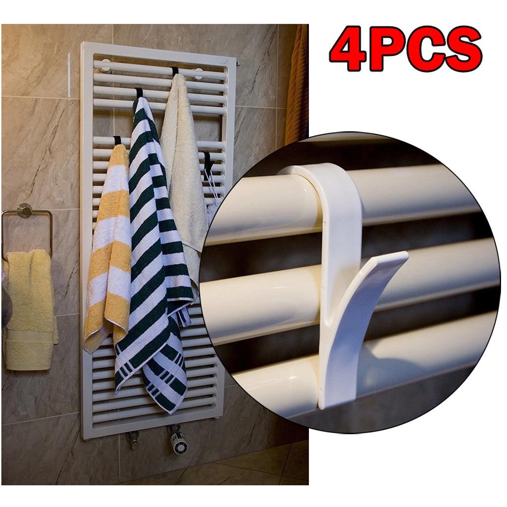 4pcs High Quality Hook Hanger For Heated Towel Radiator Rail Bath Hook Holder Navidad Home Bath towel hook Bathroom Accessories(China)