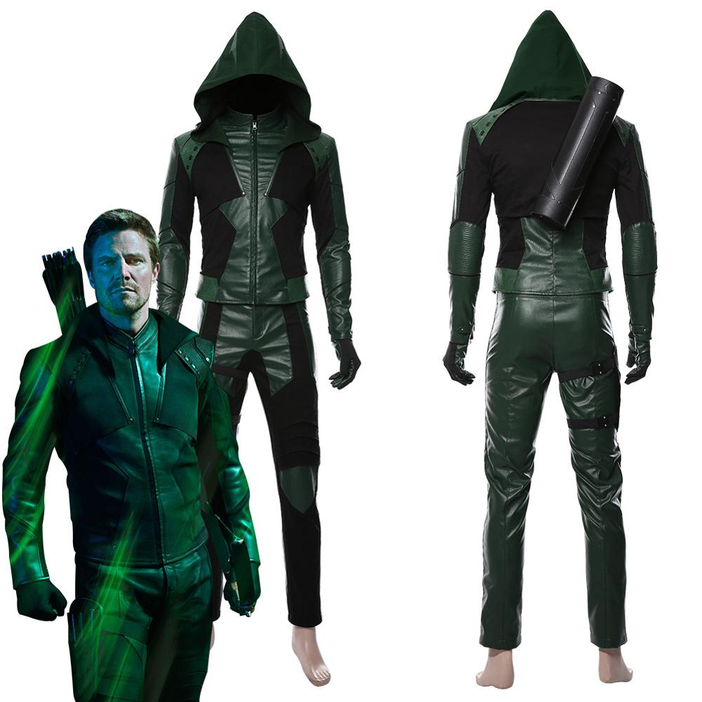 2019 Green Arrow Costume Green Arrow Season 8 Oliver Queen Cosplay Costume Halloween Outfit Adult Men Leather Suit Custom Made