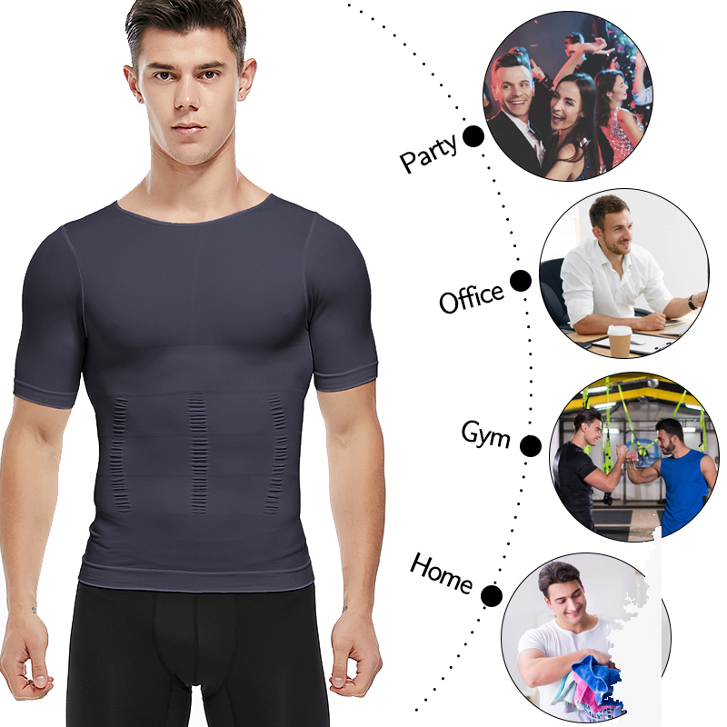 Mens Slimming T Shirt Body Shaper Compression Shirts Gynecomastia Undershirt Waist Trainer Belt Tank Tops Weight Loss Shapewear Aliexpress