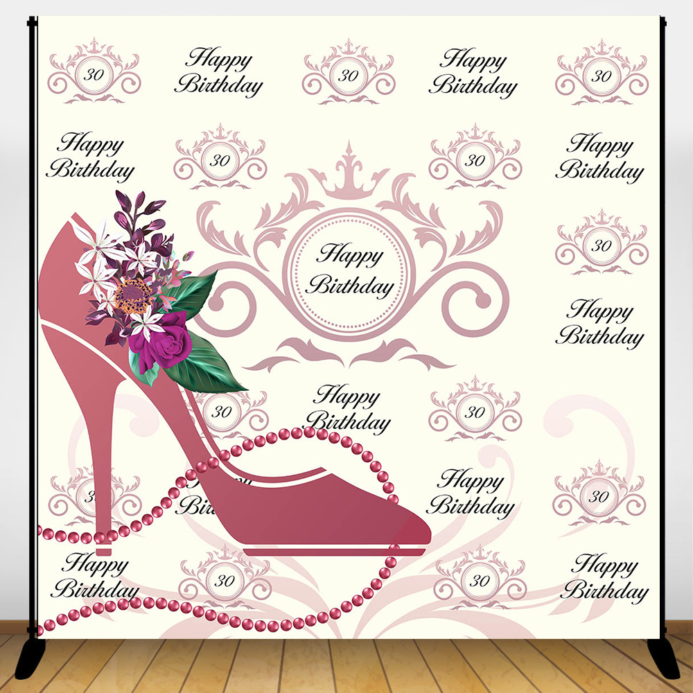 Mehofoto Happy <font><b>40th</b></font> <font><b>Birthday</b></font> <font><b>Backdrop</b></font> High heels Repeat Background Adults <font><b>Birthday</b></font> Celebration Party Banner Decoration <font><b>Backdrops</b></font> image