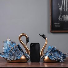Art-Ornaments Couple Swan-Statue Home-Decoration-Accessories Sculpture Modern Wedding-Gifts