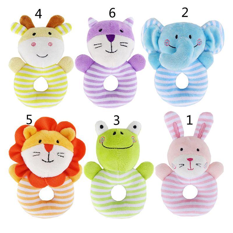 Baby Soft Rattle Infant Toys Handbell Cute Elephant Cartoon Animal Boy Girl Bell Hand Child Baby Plush Toys Gifts