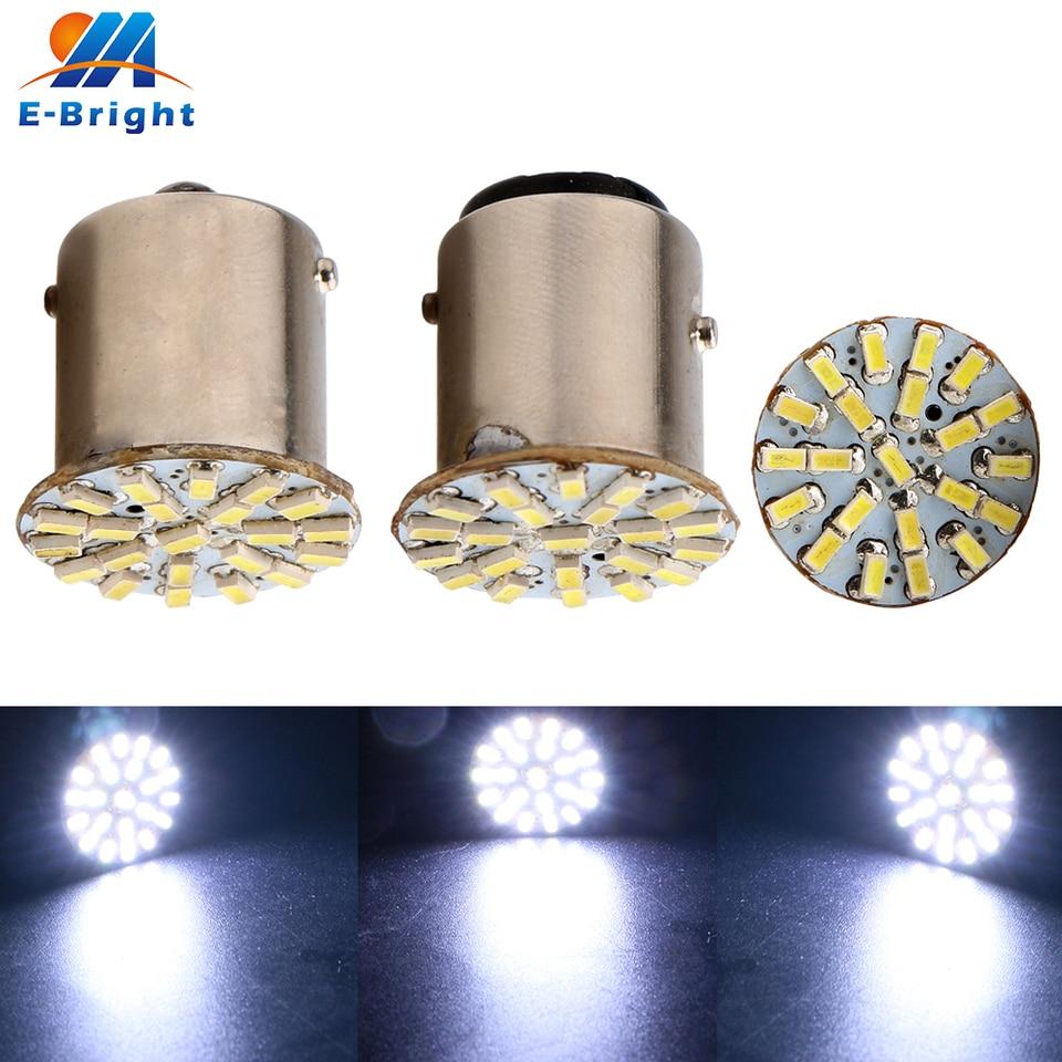 100x White 1157 BAY15D T20 68-SMD DRL RV Camper LED Interior Light Bulbs 12V