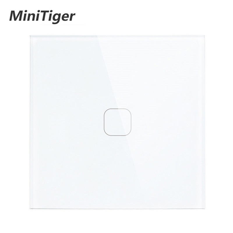 Minitiger White Luxury Crystal Glass Panel 1 Gang  1 Way Touch Switch, EU Standard 1 Gang Wall Touch Switch