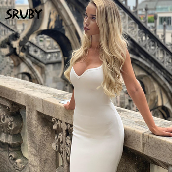 2020 Autumn new women's sexy V-neck backless hip strap Medium-length dress dress for women