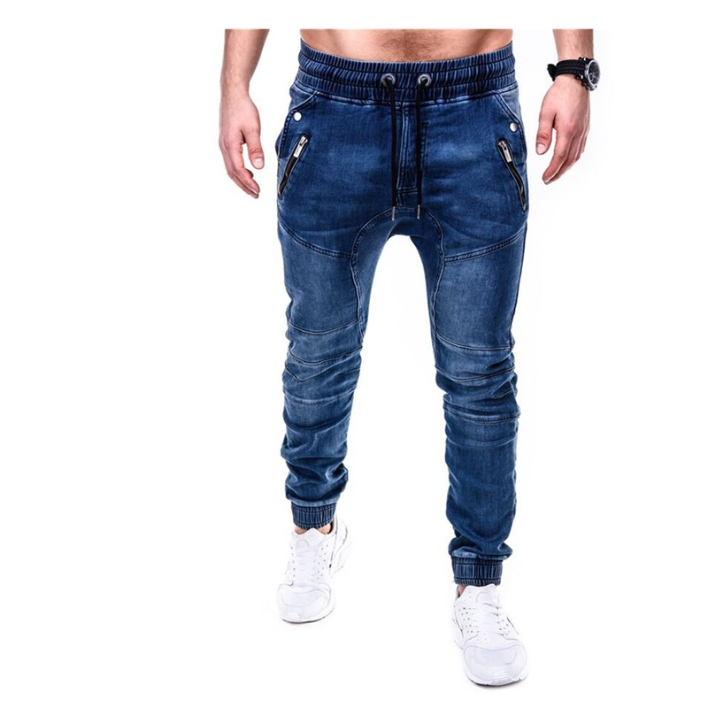 Spring Autumn Men's Elastic Cotton Stretch Jeans Pants Loose Fit Denim Trousers Men's  Fashion   Washed Jean Pants