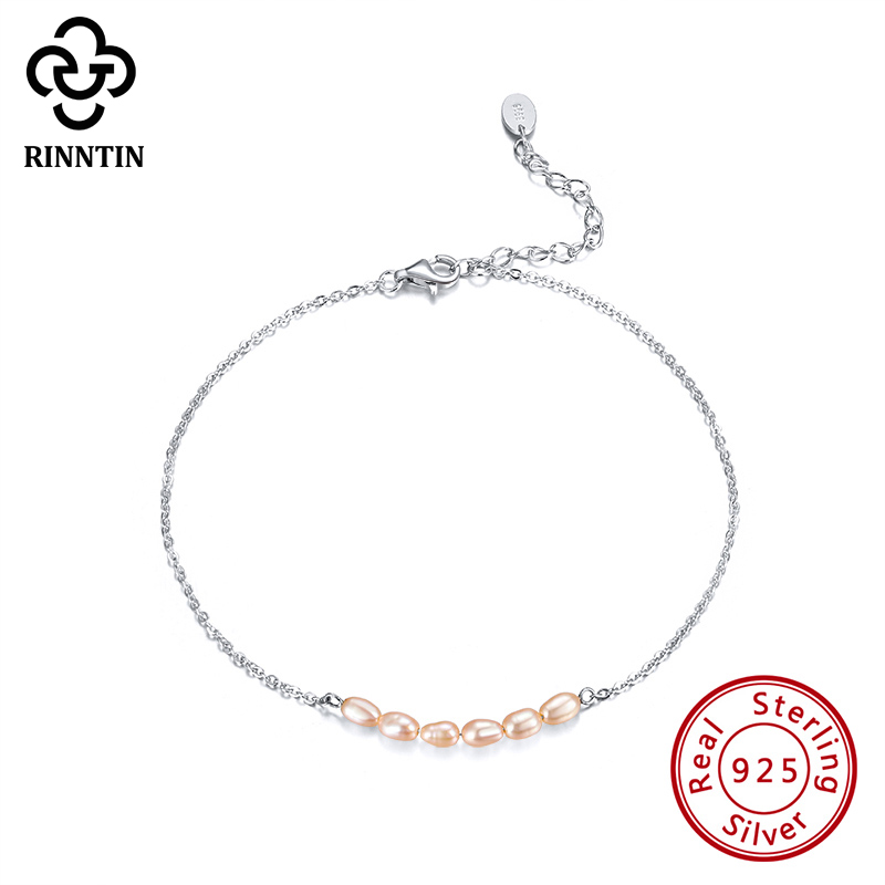 Rinntin 925 Sterling Silver Anklet Round Shape Design Pink White Fresh Water Pearl For Grils Daliy Dating Wedding TSA02