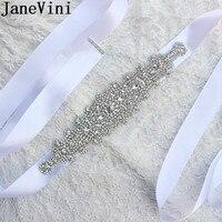 JaneVini Rhinestones Bridal Belt Silver Crystal Ribbons Wedding Belt Sash For Bride Bridesmaids Dresses Women Accessories 2019