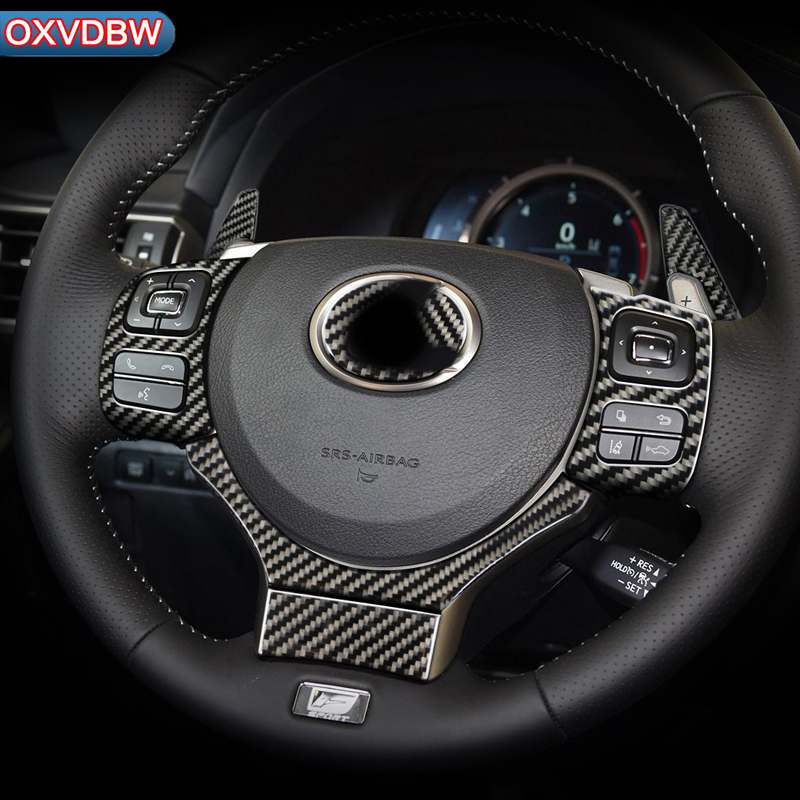 2pcs Decorative Stickers Automotive Interior Decoration Accessories Carbon Fiber Steering Wheel Button Cover for Lexus IS250 NX200T 300H