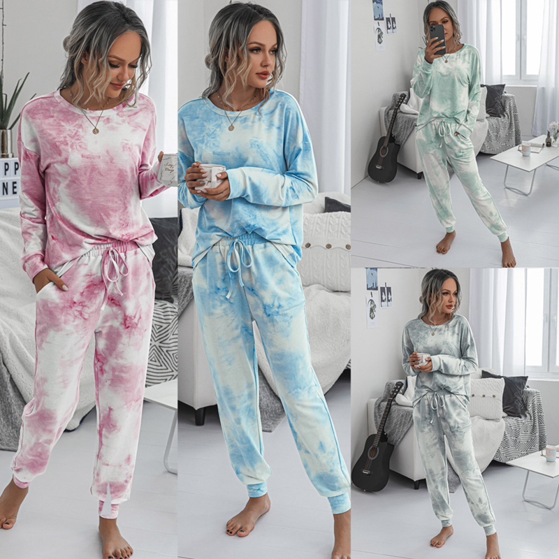 Womens 2 Piece Set Tracksuit Long Sleeve O-Neck Fashion Print T-Shirt Trousers Set Autumn And Winter Casual Loose Lady Pajamas