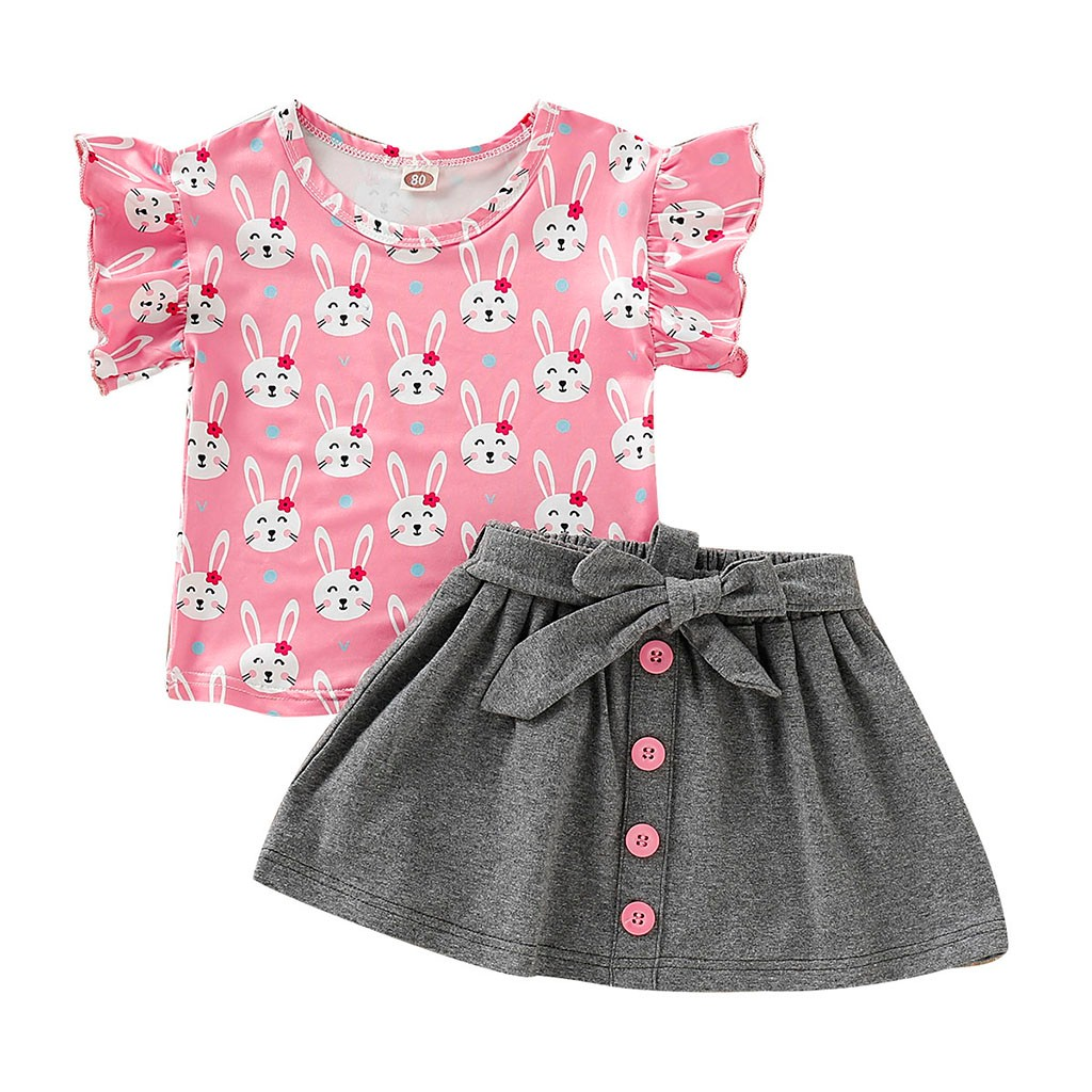 Kids Lovely Fruit Print Short Sleeve Tops T-Shirt Striped Shorts Outfits Set 2pcs Baby Girl Boy Suits