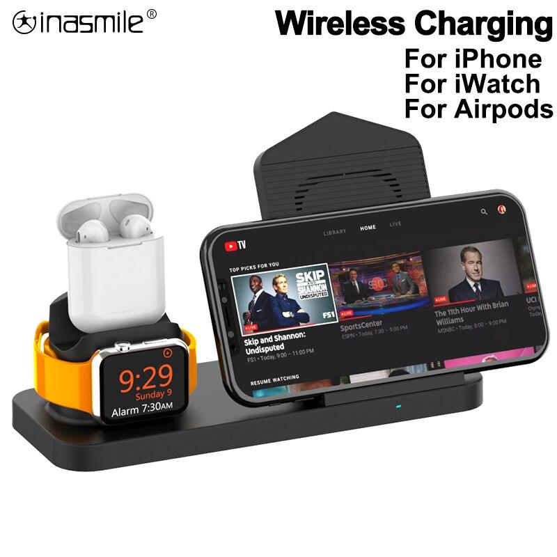 3 в 1 Быстрое беспроводное зарядное устройство док станция для AirPods для iPhone 11 Pro XR XS Max 8 для Apple Watch 2 3 4 для samsung Зарядка