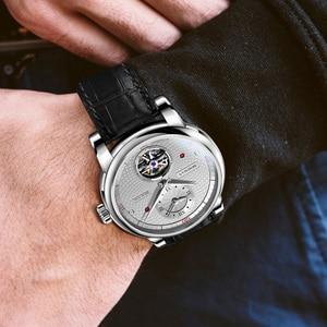 Image 4 - בורמן אוטומטי גברים שעון יוקרה מותג מכאני עצמי רוח שעוני יד רצועת עור שמלת relogio masculino הכפול אזור הזמן