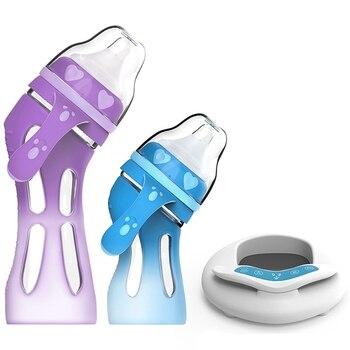 Baby Glass Bottle Anti-Drop Silicone Wide Caliber Newborn Baby Bottle Insulation Intelligent Temperature Control Bottle
