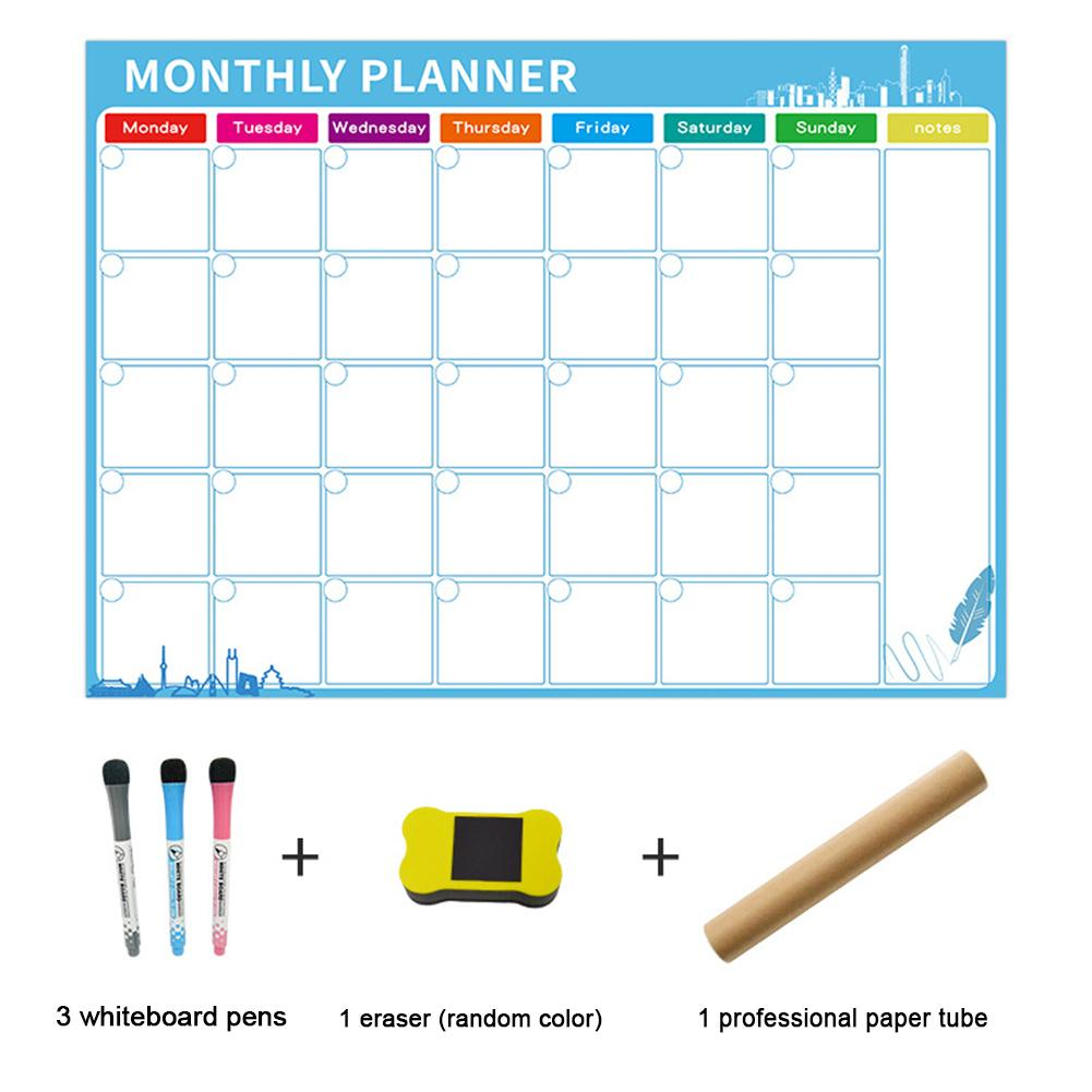 Magnetic Daily Weekly Monthly Planner Whiteboard Fridge Magnet Flexible Daily Message Drawing Refrigerator Calendar White Board