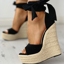 Karinluna 2020 Sexy Platform Straw Wedges High Heels Shoes Sandals Woman Sexy Summer Party ankle-wrap Shoes Woman Sandals