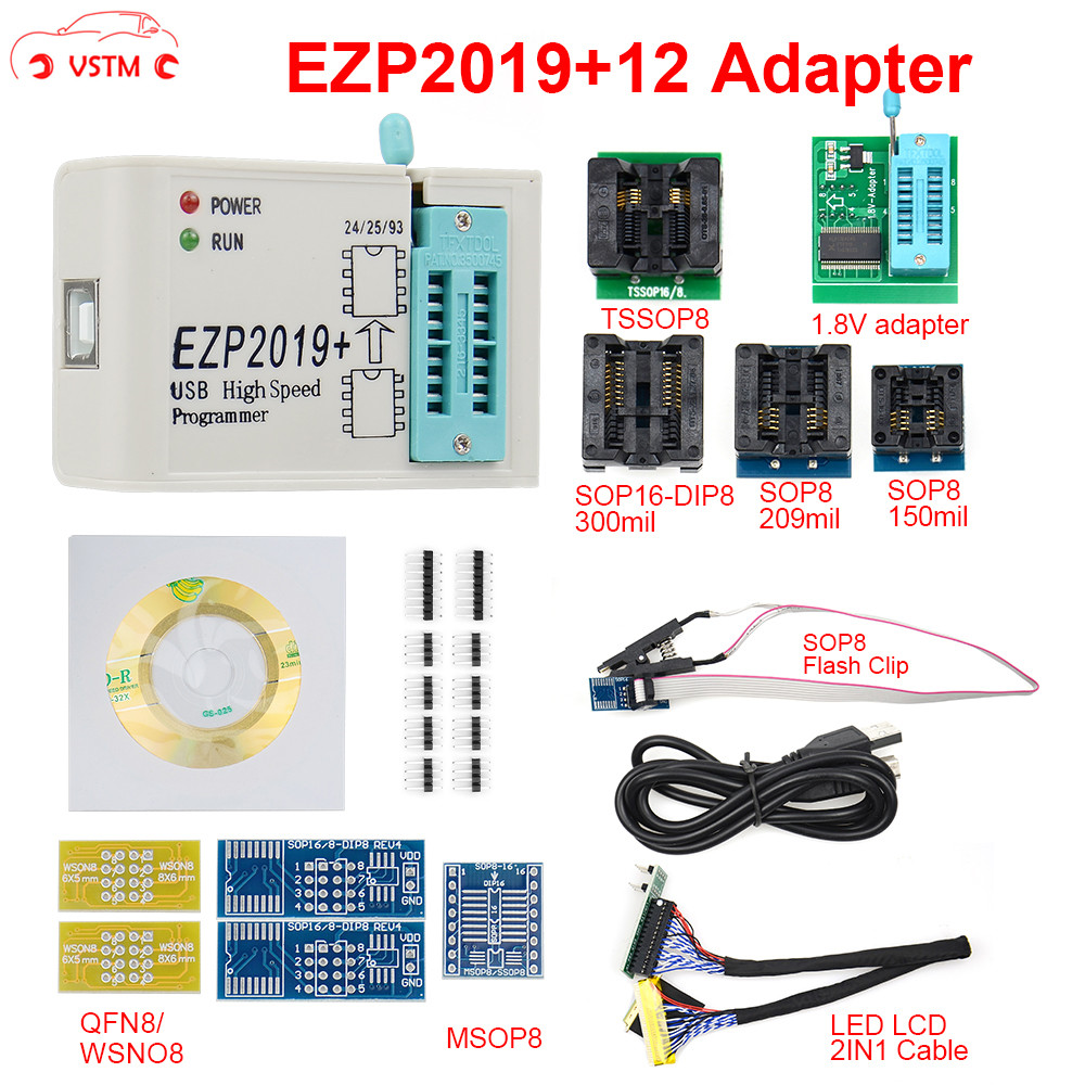 Newest EZP2019 With 12 Adapter USB SPI Programmer Update From High-speed EZP 2019 Support Win7 WIN 8 System