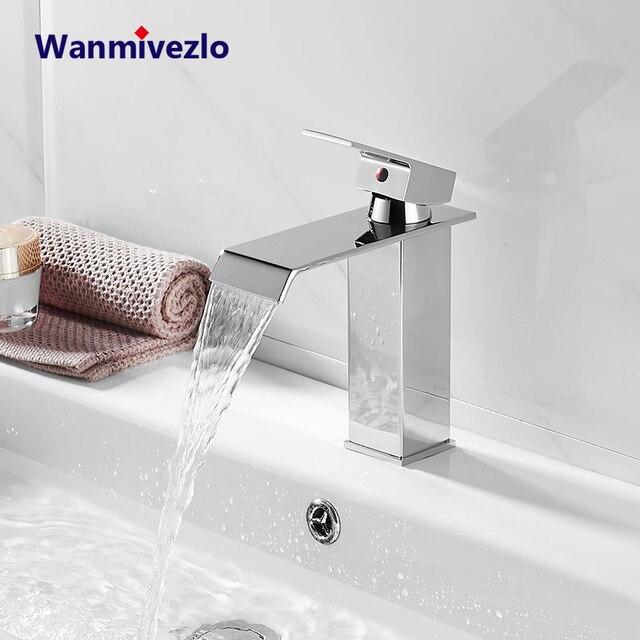 Robinets de mélangeur de lavabo montés sur le pont, mitigeur dévier de salle de bains robinets deau chaude et froide robinet de lavage à une poignée robinets dévier Torneira