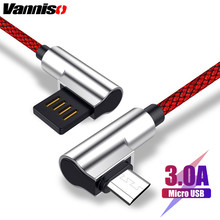 Vanniso Micro USB Cable 3A Fast Charger Cord 90 degree elbow Nylon Braided Data for Samsung S7 S6 Xiaomi Android Phone