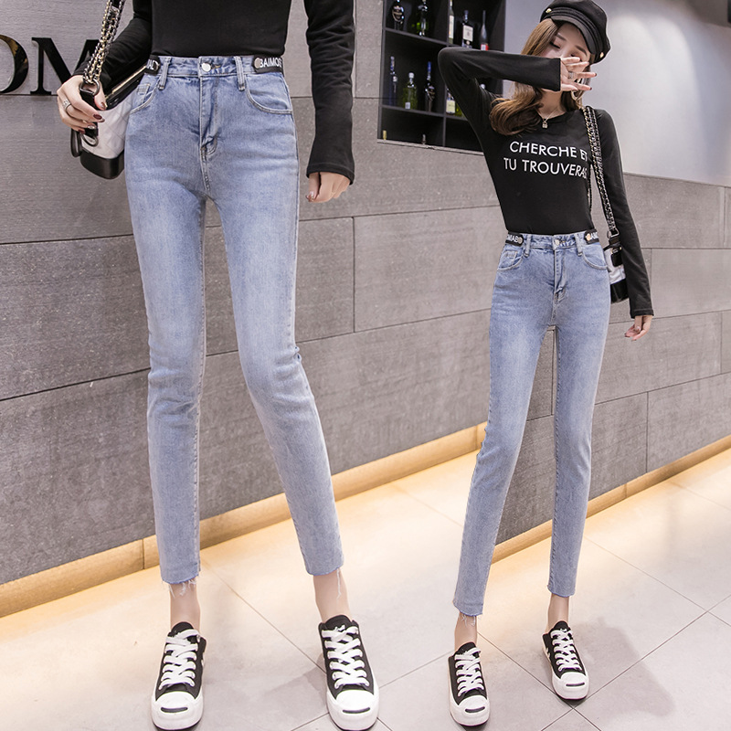 Photo Shoot 2019 Spring Clothing New Products BF College Style Elasticity Tight-Fit Jeans Women's Korean-style C High-waisted Sk