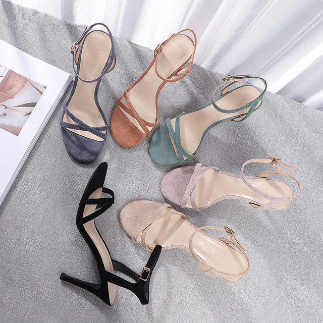 Women High Heels Sandals Shoes Woman 8.5cm Thin Heels Pumps Sandals Ladies Flock Solid Ankle Straps Casual Sexy Wedding Shoes