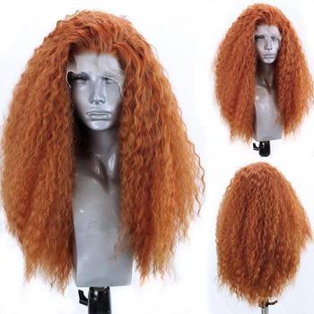 Peluca larga de color naranja Afro rizada sintética peluca con malla frontal de fibra resistente al calor Peluca de encaje para mujer Peluca de Cosplay