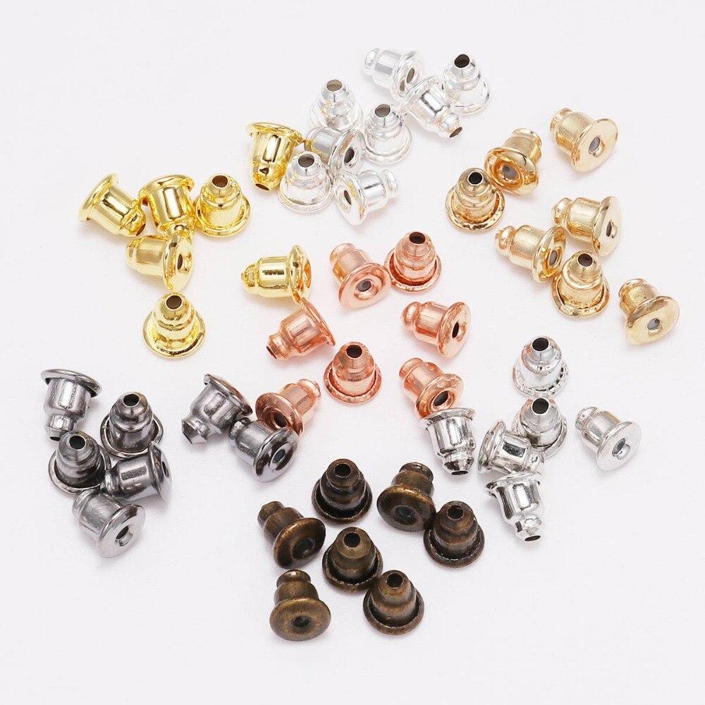 5*6mm 200pcs Earring Studs Backs Stopper Scrolls Ear Findings DIY Blocked Caps Earring Backs Stoppers Ear Accessories Supplies