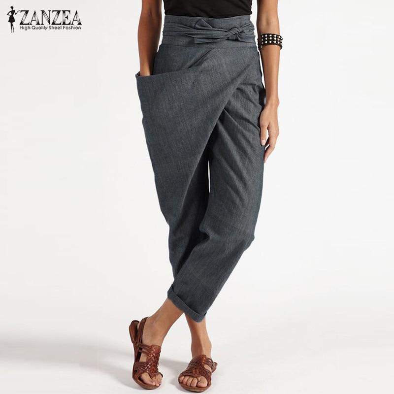 Elegante Pantalon 2019 ZANZEA Casual largo Palazzo mujer Harem pantalones moda mujer bolsillos grandes lado cremallera pantalones de talla grande