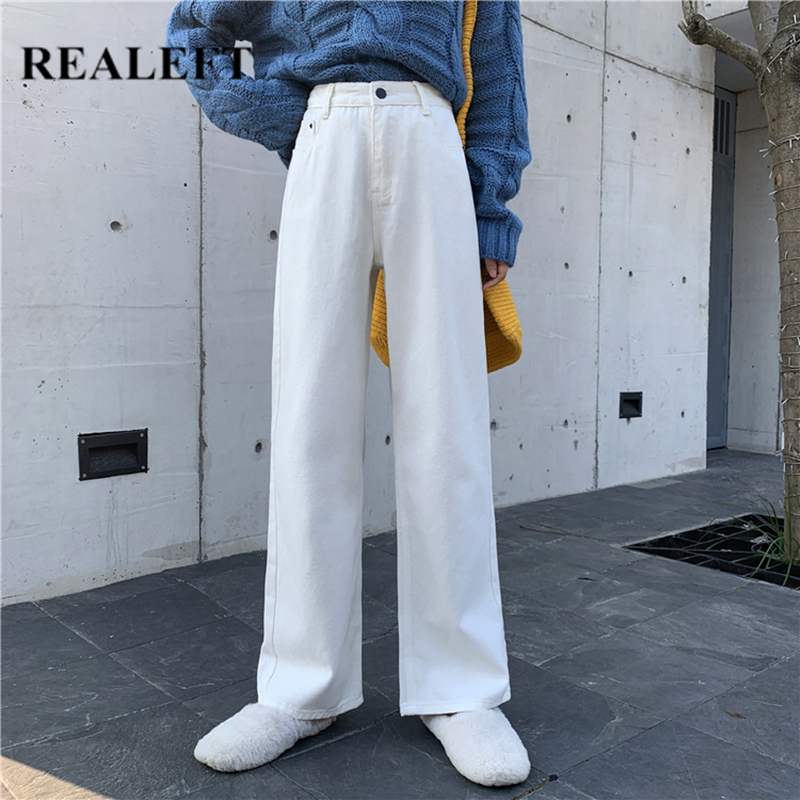REALEFT Autumn Winter White Jeans For Women High Waist Straight Jeans Pants For Women Office Lady Casual Pants Female