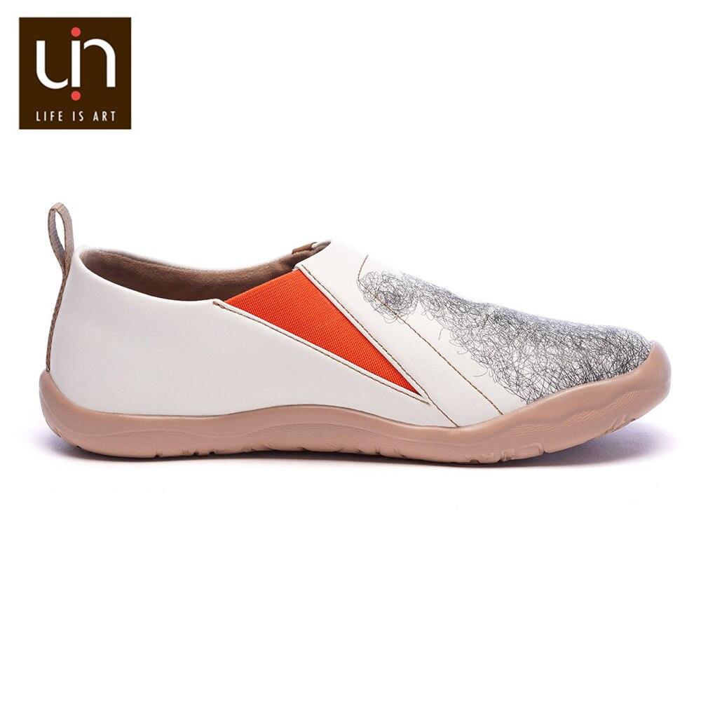 Uin adorável urso design feminino sapatos casuais de couro de microfibra deslizamento em mocassins conforto sapatos de caminhada senhoras moda branco - 4