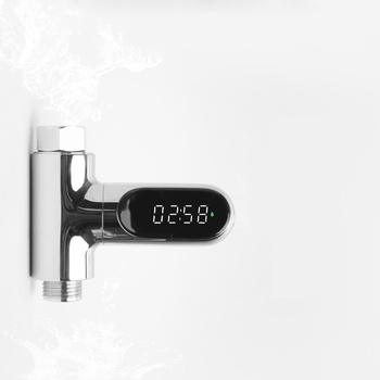 Xiaowei V2 Water Shower Thermometer LED Celsius Fahrenheit Time Display Flow Self-Generating Electricity Water Temperture Meter led display water shower thermometer