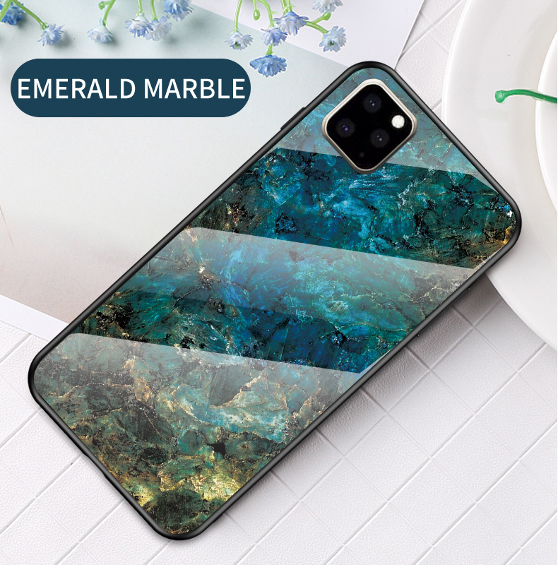 KEYSION Marble Tempered Glass Case for iPhone 11/11 Pro/11 Pro Max 10