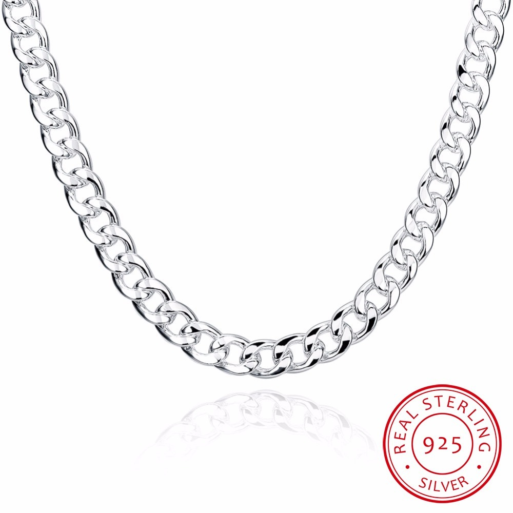 Lekani Men's Fine Jewelry 925 Sterling Silver Chains Necklace High Quality Male 925 Sterling-silver-jewelry 10mm 20 Inch 24 Inch