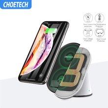 Bezprzewodowa ładowarka CHOETECH dla iPhone X XS Max regulowane cewki podwójne szybki stojak do bezprzewodowego ładowania dla Samsung S9 S8 S7 uwaga 8 5