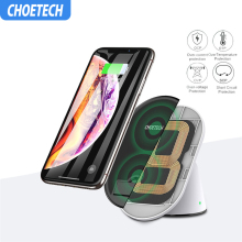 CHOETECH Wireless Charger For iPhone X XS Max Adjustable Dual Coils Fast Wireless Charging Stand For Samsung S9 S8 S7 Note 8 5