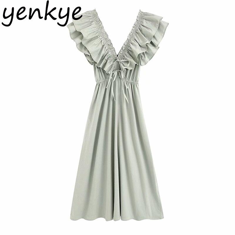 Многослойное длинное платье с рюшами, женское сексуальное винтажное однотонное летнее платье с v образным вырезом и коротким рукавом, элегантные вечерние платья трапециевидной формы с эластичной резинкой на талии Платья      АлиЭкспресс