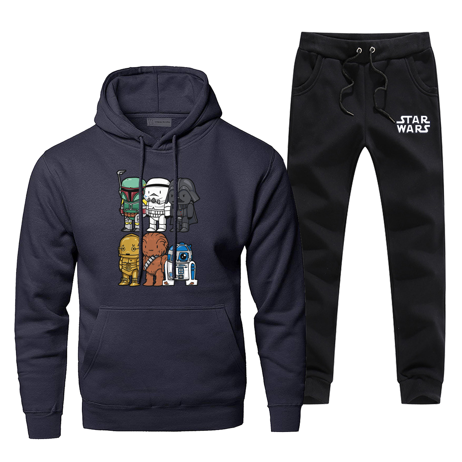Star Wars Cartoon Print Hoodies Sets Fashion Movie Pants Sweatshirts Comfortable Men's Full Suit Tracksuit Fleece Casual Men Set