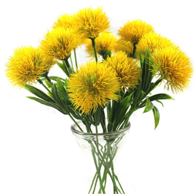 1PC Buatan Bunga Hijau Sentuhan Nyata Dandelion Tanaman Palsu Bunga Plastik Dekorasi Rumah Flores Artificiais Panjang 25 Cm