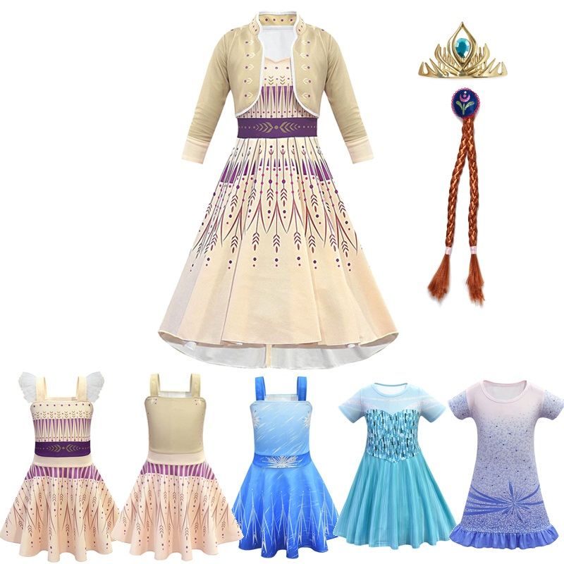 MUABABY Girls New Anna Elsa 2 Princess Dress Halloween Casual Snow Queen Sundress Children Birthday Party Fantasy Clothes 3-10T