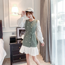 2019 New Women dress Double Breasted Patchwork Slim French Celebrities Dresses Green Blue 1091 plus size double breasted patchwork dress
