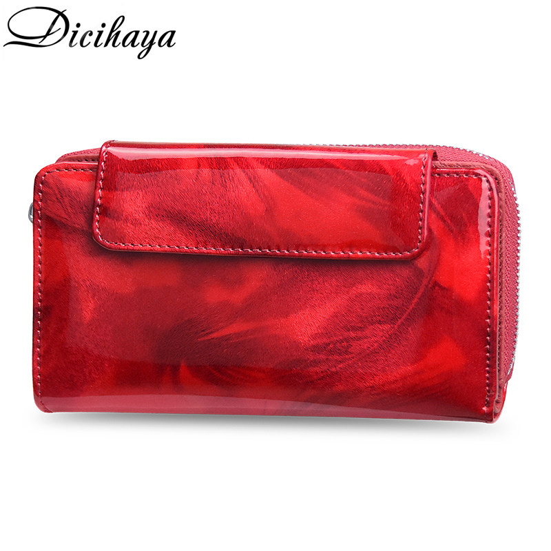 DICIHAYA NEW Women Wallets Lady Wristlet Handbags REAL Leather Money Bag Zipper Coin Purse Cards ID Holder Clutch Woman Notecase