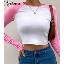 Rockmore-camisetas Kawaii de retales de colores contrastantes, Tops cortos de manga larga para mujer, chaqueta de calle básica ajustada informal Y2K