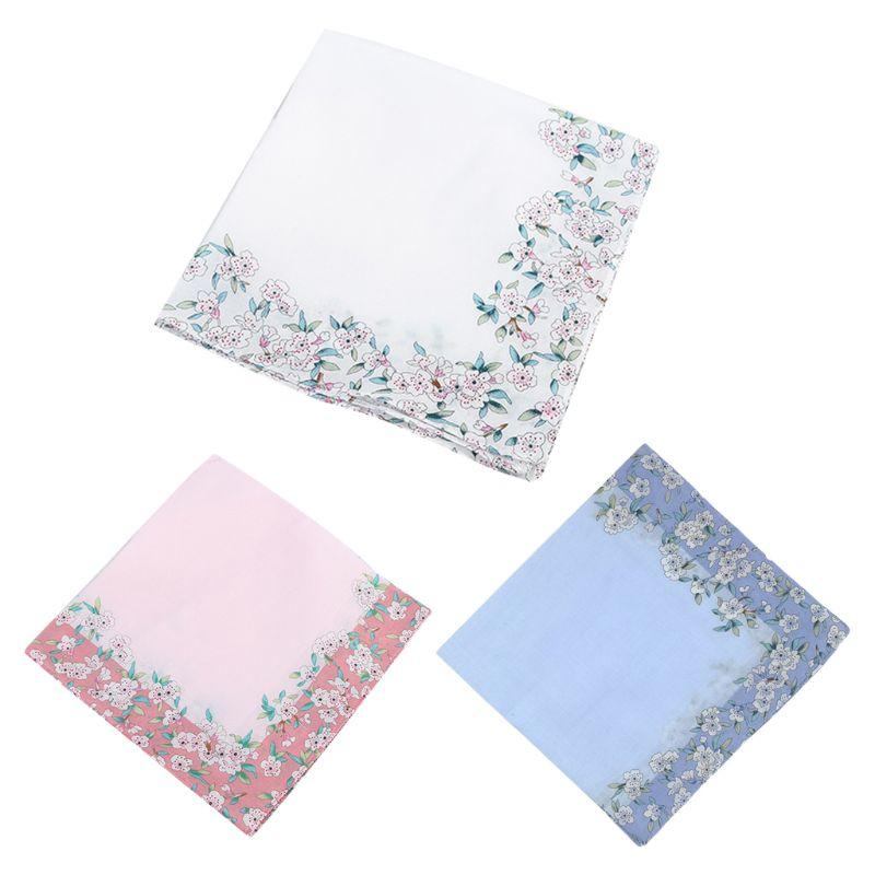 Women Cotton Square Handkerchiefs Cherry Blossom Floral Candy Color Hanky Towel
