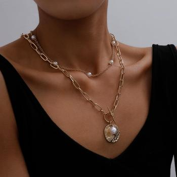 Gothic Baroque Pearl Coin Pendant Choker Necklace for Women Wedding Punk Bead Lariat Gold Color Long Chain Necklace Jewelry Gift Fashion Jewelry