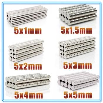 100~500Pcs N35 Round Magnet 5x1 5x1.5 5x2 5x3 5x4 5x5 Neodymium Permanent NdFeB Super Strong Powerful Magnets 5*1 5*2 5*3
