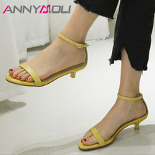 ANNYMOLI Woman Natural Genuine Leather Sandals Buckle Ankle Strap Thin Heels Shoes Open Toe Med Dress Ladies Blue