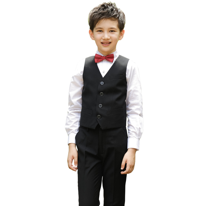 Children Korean Japanese School Uniform For Boys Kid White Shirt Black Pants Waistcoat Vest Tie Clothes Set Student Outfits Suit