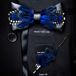 Image 5 - RBOCOTT Handmade Feather Bow Tie and Brooch Set For Men Accessories Mens Luxury Bowtie Breastpin Set with Box For Wedding Gift
