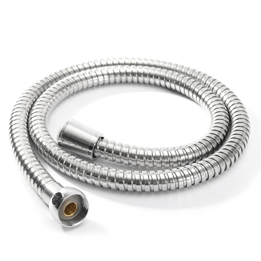 1m/1.5m/2m 1/2'' Shower Hose Universal Bathroom Soft Shower Pipe Silver Color Flexible Bathroom Water Pipe Stainless Steel