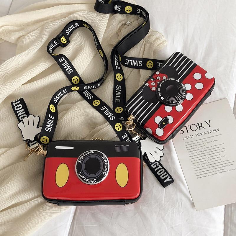 Girls Mickey Minnie Camera PU Bag Children Backpack Plush Bag Diagonal Cross Bag Girl Shoulder Bag Bags Travel Portable Bag